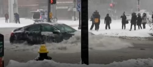 Boston streets awash during its worst coastal flooding in 40 years. [Image source/NBC News YouTube video]