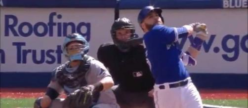 Russell Martin was a power hitter for Toronto but now he will play for the LA Dodgers. [Image Credit: HashBaller - YouTube]