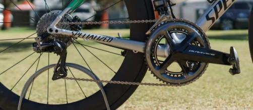 Un particolare della bicicletta che Peter Sagan userà nel Criterium del Tour Down Under