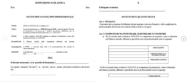 Esempio di Patto Formativo per lo sviluppo professionale per docenti neo-assunti.