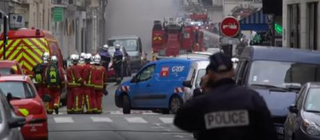Gas explosion causes multiple injuries in Paris bakery. [Image source/ODN YouTube video]