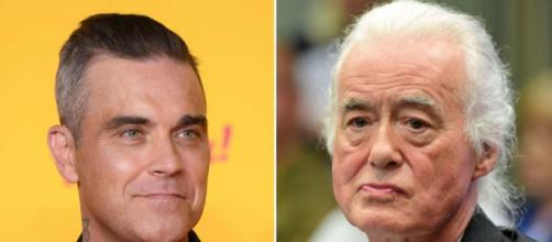 Il cantante Robbie Williams e ii chitarrista Jimmy Page
