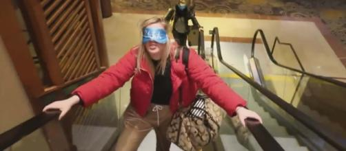 """The Bird Box"" challenge continues to show people doing crazy things while blindfolded. [Image Inside Edition/YouTube]"