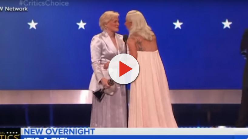 Lady Gaga, Glenn Close embrace in a tie at Critics Choice Awards
