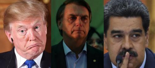 Trump, Bolsonaro e Maduro em momentos de tensões e elogios. (Reprodução)