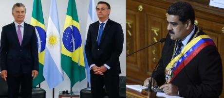 Mauricio Macri e Jair Bolsonaro discursam em salão do Palácio do Planalto (Foto: Alan Santos/Presidência da República | Frederico Parra/AFP)