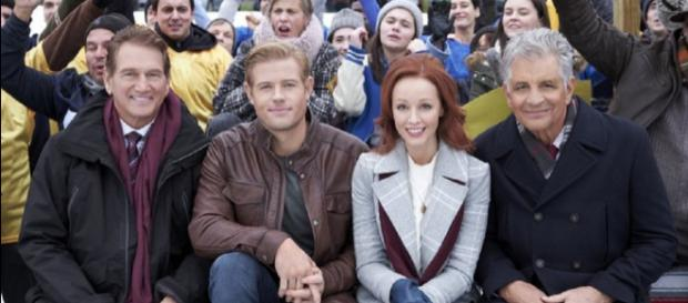 Joe Theismann, Trevor Donovan, Lindy Booth, and Ed Marinaro in 'Snowcoming.' [Photo courtesy of Beth Grossbard with Hallmark Channel movies]