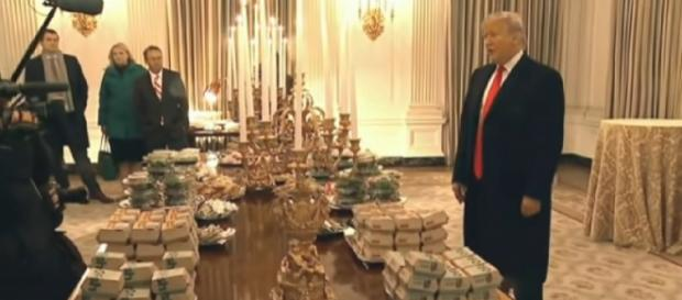 Trump honors Clemson with fast food feast. [Image source/Associated Press YouTube video]