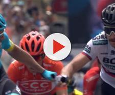 Sanchez e Sagan, i complimenti dopo il traguardo della terza tappa del Tour Down Under