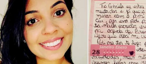 Gabriella recebeu carta de Júlia (Reprodução Facebook Gabriella Pereira)