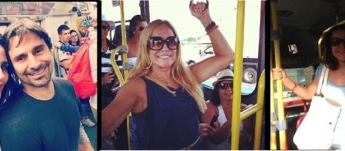 Famosos no transporte público. (Reprodução: UOL)