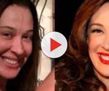 Claudia Raia antes e depois da maquiagem (Reprodução R7)