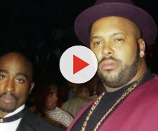 Tupac Shakur a sinistra, Suge Knight a destra.