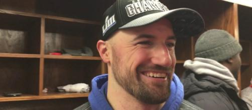 Former Nebraska football player Rex Burkhead was all smiles after Sunday's big performance. [Image via NFL/YouTube]