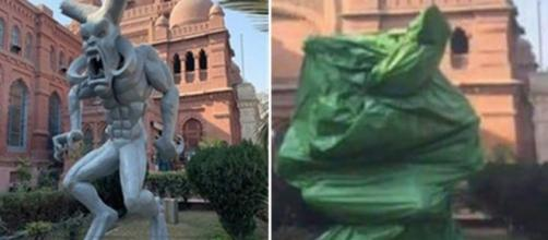 Left the statue in full display. Right the statue covered after ruling.