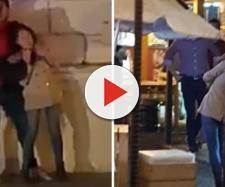 Imágenes del asesino antes de matar a su víctima, filmado por los teléfonos móviles de los transeúntes y rodeado por la Policía.