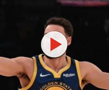 Klay Thompson hit his first 10 three-pointers in Monday's win over the Lakers. [Image via NBA/YouTube screencap]