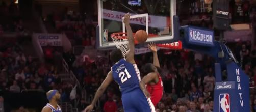 Joel Embiid blocks James Harden (YouTube, NBA)