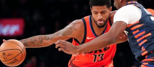 Paul George helped the Thunder pick up a road win over the Knicks on Monday (Jan. 21). [Image via ESPN/YouTube screencap]