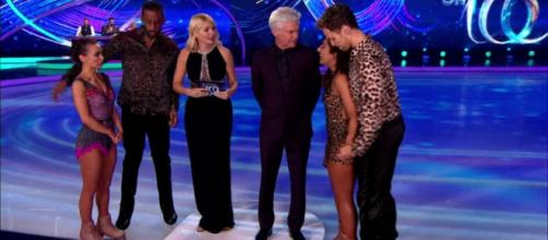 Richard and Carlotta and Saira and Mark face the Skate-Off (Image credit: Dancing On Ice/ ITVhub)