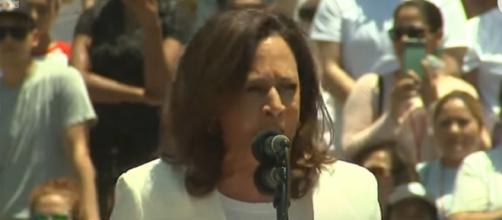 Senator Kamala Harris has her say. [Image source/USA Today YouTube video]