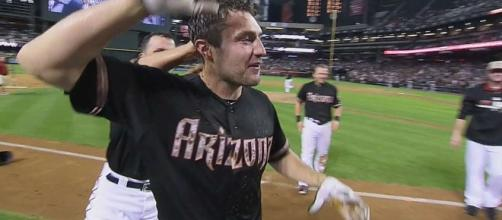 AJ Pollock is signed by the L.A. Dodgers. [Image Credit: MLB/YouTube screencap)