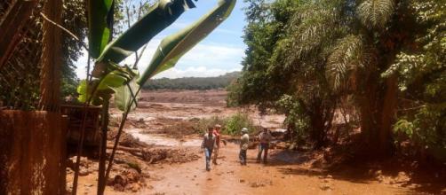 Barragem de Brumadinho se rompe e a lama invade casa da região (Reprodução/Bombeiros-MG)