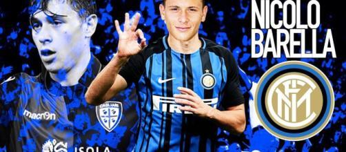 Un montaggio di Nicolò Barella con la maglia dell'Inter