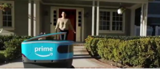 Amazon self-driving delivery robots. [Image source/WTHR YouTube video]