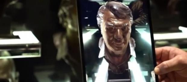 AR tech animates John Madden's Hall of Fame bust to talk football at Super Bowl Experience. Image credit - Chad Goebert / YouTube