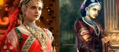 Kangana as the Rani of Jhansi which is on way to Rs 100 crores ( £ 10.6 million) Photo-Image-(screenshot Bollywood tag/youtube.com)