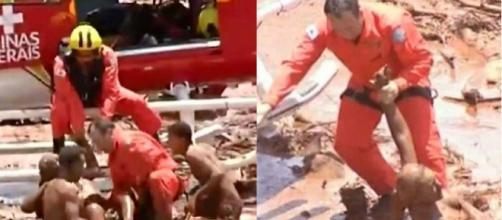 Vítimas sendo resgatadas em Brumadinho (Reprodução UOL)