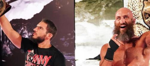 Johnny Gargano and Tommasa Ciampa celebrate victories at WWE NXT TakeOver Phoenix. [Image via WWE/YouTube screencap]