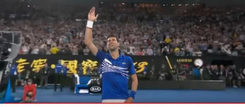 Novak Djokovic v Rafael Nadal match – after the win in 2019 Final. [Image source/Australian Open TV YouTube video]