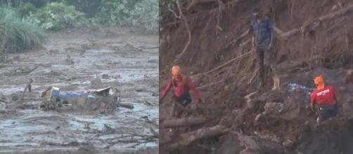 Novo ônibus é encontrado soterrado em Brumadinho (Reprodução/TV Globo)