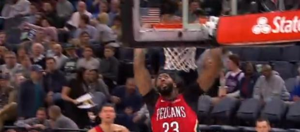 Anthony Davis dunks for Pelicans. - [ESPN / YouTube screencap]