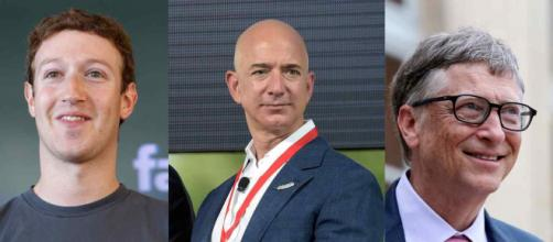 Mark Zuckerberg, Jeff Bezos e Bill Gates