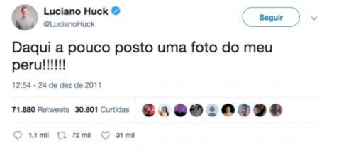 Luciano Huck acabou virando meme por seu tweet de Natal. (Reprodução/Twitter)