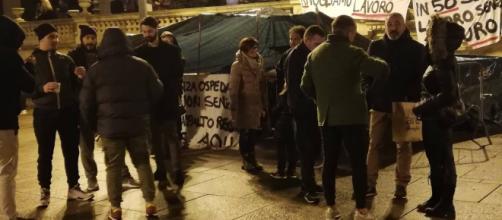 Sassari, diciottesima notte in tenda per gli ex dipendenti Secur - Fonte: Pietro Serra
