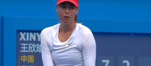 Sharapova retired from the quarterfinals match in Shenzhen. Photo: screencap via WTA/ YouTube