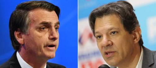 Bolsonaro se irrita com Haddad (Foto- Nelson Almeida/AFP - Ulisses Dumas/Divulgação)