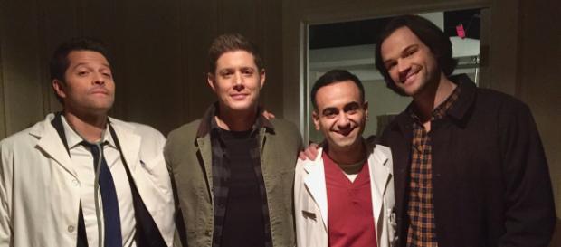 Misha Collins, Jensen Ackles, Babak Haleky, and Jared Padalecki on 'Supernatural's set. [Image source: Babak Halek, used with permission]