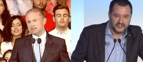 Il primo ministro italiano Joseph Muscat e il ministro dell'interno italiano Matteo Salvini