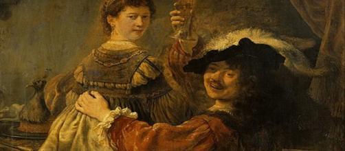 Rembrandt self-portriat with Saskia [Image source: Photograph: Hans Peter Klut/Elke Estel]