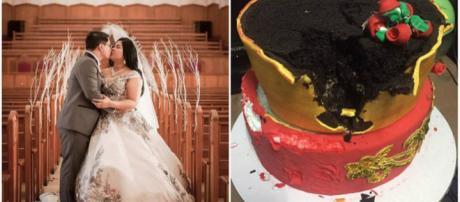 Noiva se decepciona com bolo. (Fonte: R7)