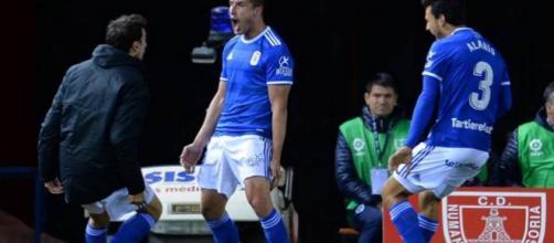 Christian celebra el gol de la victoria para el Real Oviedo en Soria. Foto: AS