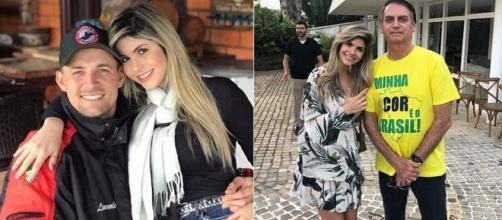 Andressa com Diego e com Bolsonaro (Reprodução Instagram Andressa Matos)