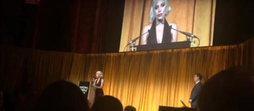 Lady Gaga gave words of gratitude and inspiration in accepting Best Actress honors at the NBR awards.[Image source: PatrickJoseph-YouTube]