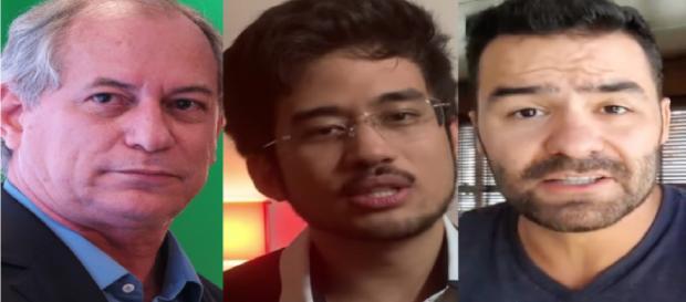 Da esquerda para a direita: Ciro Gomes, Kim Kataguiri e Arthur Moledo do Val - Sérgio Lima/Poder360, Reprodução/YouTube MBL e Mamãe Falei
