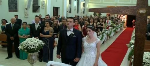 Sobreviventes da tragédia da boate Kiss em Santa Maria, se casam. Reprodução/RBS TV